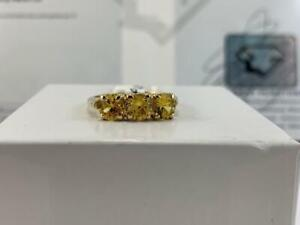 #3898 10K Yellow Gold Ladies Trinity Ring With Synthetic Yellow Sapphires *SIZE 6 1/4* APPRAISED AT $900!