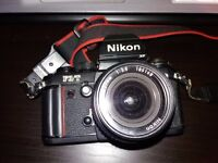 Nikon F3 Titanium + HP+ Nikkon 100 mm 1:2.8 -30 years old but still works as on the first day.