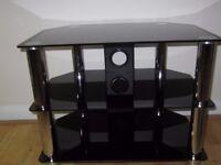 3 shelf, black glass TV stand
