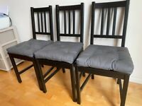 Black Dining Chair with Grey Cushion