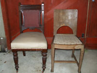Mahogany hall chair plus arts and crafts style dining chair