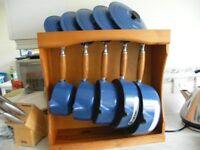 5 Le Creuset pan set and stand blue new