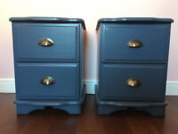 Bed Side Tables x2 Blue Solid Pine Drawers