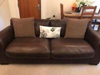 High Quality Brown Leather 3 seater Sofa & Chair
