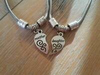 MOTHER AND DAUGHTER HEART CHARMS FOR PANDORA BRACELET WITH BRACELET S AND GIFT BOX
