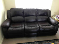3 seater dark brown leather recliner sofa