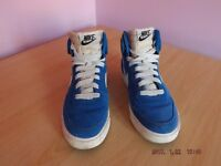 Blue suede Nike high top trainers uk size 6