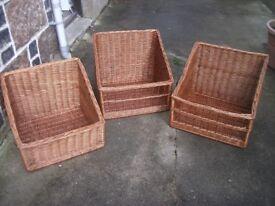 Wicker Log basket. Refurbished used wicker display baskets. 2 styles, only 3 left.