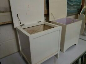 Two painted boxes with cork lids