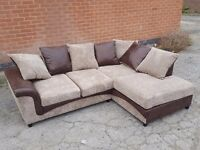 Beautiful BRAND NEW brown and beige cord corner sofa.small tear. can deliver