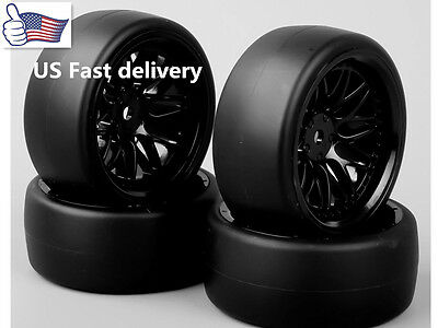 (4X Flat Drift Tires&12mm Hex Wheel for HSP 1:10 RC On Road Racing Car 6mmOffset)