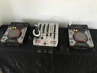 Pioneer CDJ400 pair of decks, Behringer VMX 300 mixer, speakers and cables