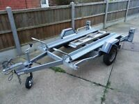 ERDE Twin Motorcycle Trailer with ramp and built in lights.