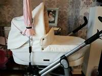 BabyStyle Prestige S3D Girls Pram Princess Leatherette £250