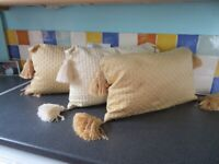 """Vintage 3 Rectangle Cushions 12"""" x 20"""" with tassels"""