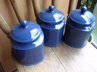 3 Blue Ceramic Large Storage Jars