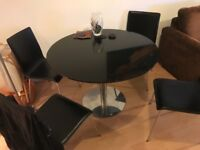 John Lewis glass table amd leather chairs