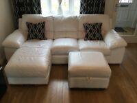 DFS white leather 2 & 3 Seater Sofas & stool