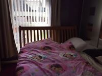 Solid pine king size bed and mattress for sale