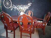 MAHOGANY PEDESTAL EXTENDABLE DINING TABLE WITH 6 MAHOGANY DINING CHAIRS (1 CARVER) VERY SOLID SET