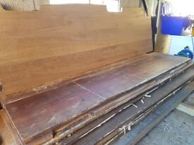 Reclaimed wide plank Iroko laboratory bench tops