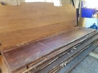Reclaimed wide plank Iroko laboratory bench tops