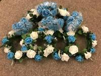 Selection of blue and white foam flowers from wedding