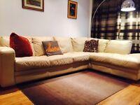 Cream leather corner settee