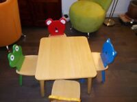 wooden table and 4 chairs for toddlers