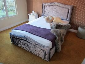 WINDSOR **NEW** CRUSHED VELVET FABRIC UPHOLSTERED BED (FREE LOCAL DELIVERY)