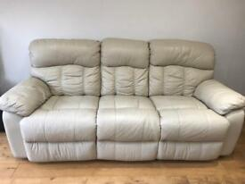 3 seater cream leather sofa recliner (also have 2 seater)
