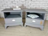 Vintage Stag Minstrel matching bedsides with drawer refinished in soft grey