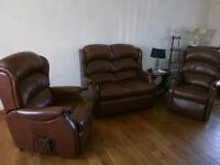 Riser Recliner Brown leather suite by HSL , 2 dual motor riser recliner arm chairs and one sofa