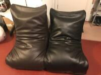 Two faux leather gaming beanbag chairs