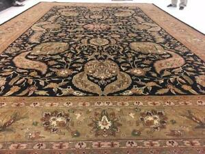 Rectangle Area Rug Olive Green Black Oriental Hand Knotted Wool Carpet (12 x 18)'