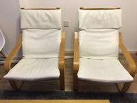 Pair of Ikea Poang Leather Chairs in White in Excelllent Condition