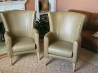 Pair of elegant,leather armchairs