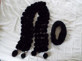 Ladies Black Fur Bobble Scarf and Headband