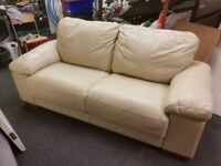 Cream leather long 2 seater settee
