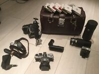 Olympus OM1 camera with accessories