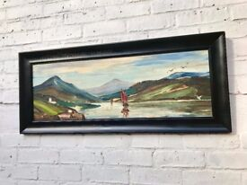 Vintage Landscape Oil Painting of Fishing Boat #432