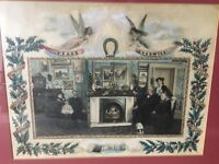The Tyler & Palmer Families: Large Antique Victorian Hand-painted Friendship Photograph (Framed)