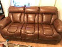 Leather 3 seater sofa and two reclining chairs