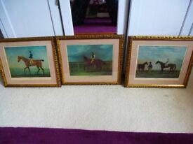 3 framed prints of racehorses