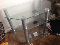 Glass TV shelf