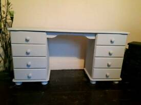 Solid wooden grey painted 8 drawer desk
