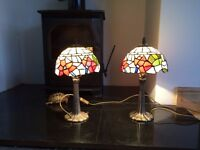 Tiffany style coloured stained glass lamps