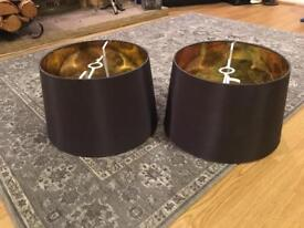 New dark charcoal lampshades with gold lining