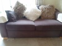 2 Brown metal action sofa beds