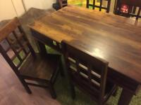 Mexican style solid wood table and chairs